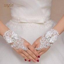 Очаровательный белый короткий цвет слоновой кости свадебные перчатки Кристаллы бисером лук узел запястье длина без пальцев кружева свадебные перчатки