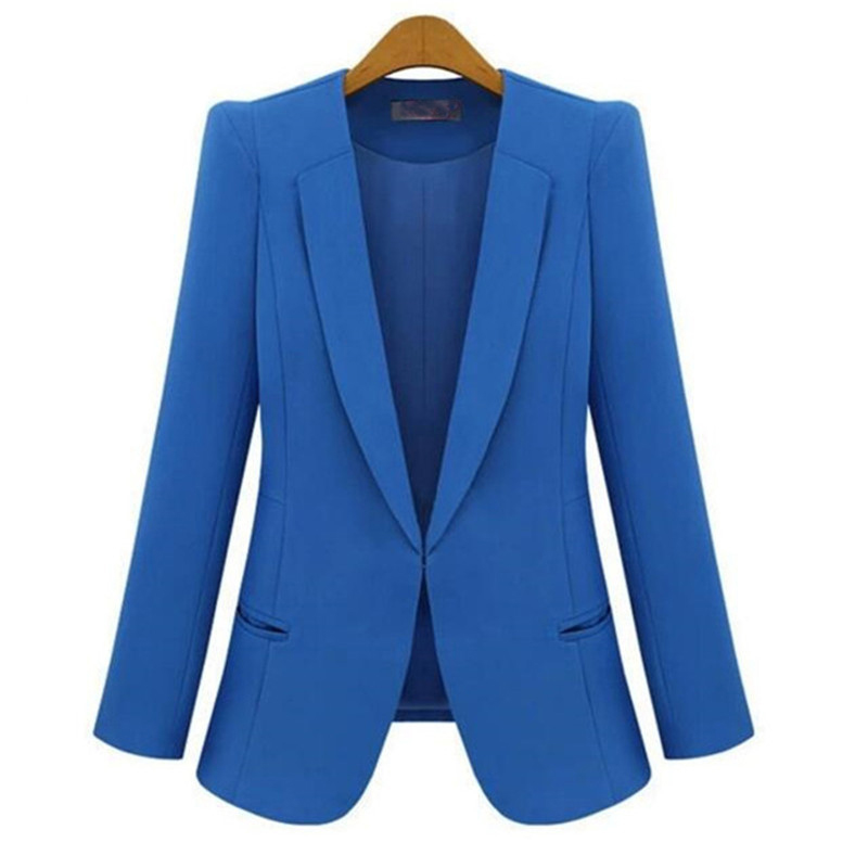 2017 Hot Sale New Fashion Women Casacos Femininos   Basic     Jackets   Spring Autumn Female Slim Coat Candy Color Suit Outerwear AB027
