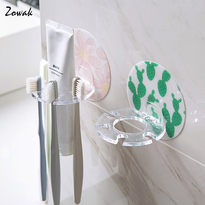 Toothbrush Holder Razor Stand 4 Hook Rack Toothpaste Dispenser Storage Box Adhesive Hanger Organizer Bathroom Accessories Cute image