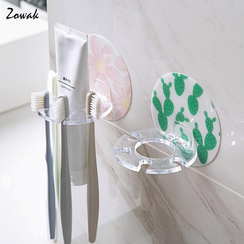 Toothbrush Holder Razor Stand 4 Hook Rack Toothpaste Dispenser Storage Box Adhesive Hanger Organizer Bathroom Accessories Cute