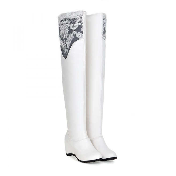 Big Size 34-43 Over the Knee Boots for Women Sexy High Heels Long boots Winter Shoes Round Toe Platform Knight Boots 526 anmairon high heels lace charms shoes woman over the knee boots zippers round toe long boots size 34 39 black winter boots shoes