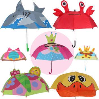 Long handle rain umbrella for kids 3D animals print cute children umbrella for boy girl sun protection child\'s tools - DISCOUNT ITEM  25 OFF Home & Garden