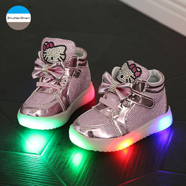 773a7659 2018 dibujos animados 1 a 10 años luces LED bebé Niña Zapatos moda niños  botas cortas