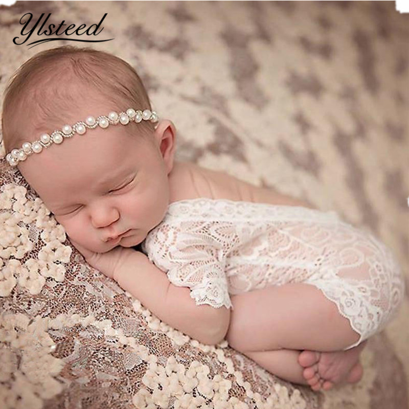 Fotografia Neugeborene Fotografie Props Baby Spitze Strampler Infant Foto Schießen Kleidung Weiß Schwarz V Cut Geöffnetes Zurück Strampler