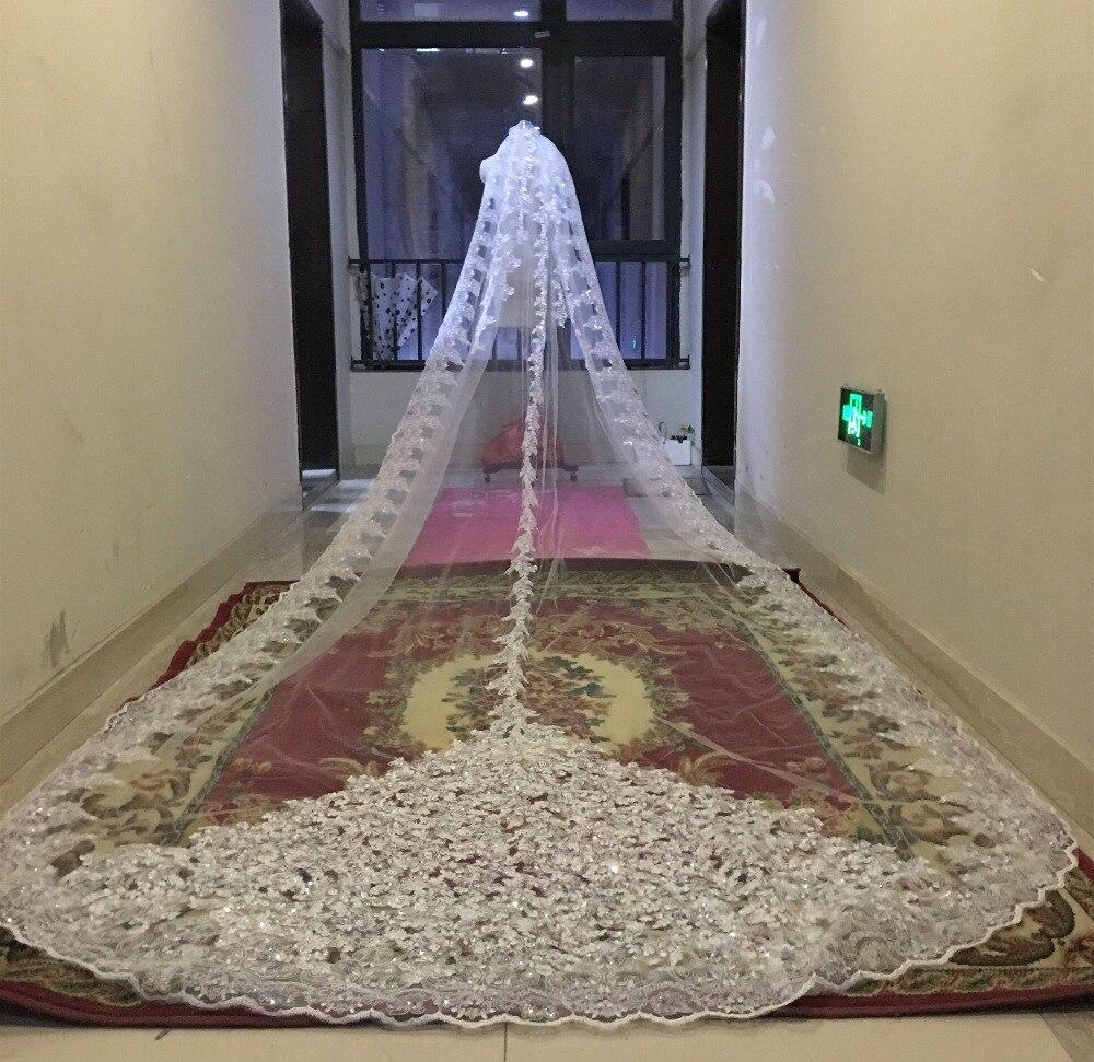 Bling Bling paillettes perles cathédrale voiles de mariée Appliques dentelle bord cristaux 1 T avec peigne attaché sur mesure Long 5 M mariage