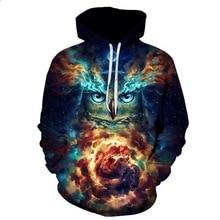 2019 New Design Hiphop Hoodies Owl 3D Printing Gold Metal Cool Fashion Autumn Sweatshirt Thin Hooded Couple Hoodie