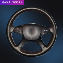 цены Car Braid On The Steering Wheel Cover for Mercedes Benz W204 C-Class 2007-2010 C280 C230 C180 C260 C200 C300 Auto Wheel Cover