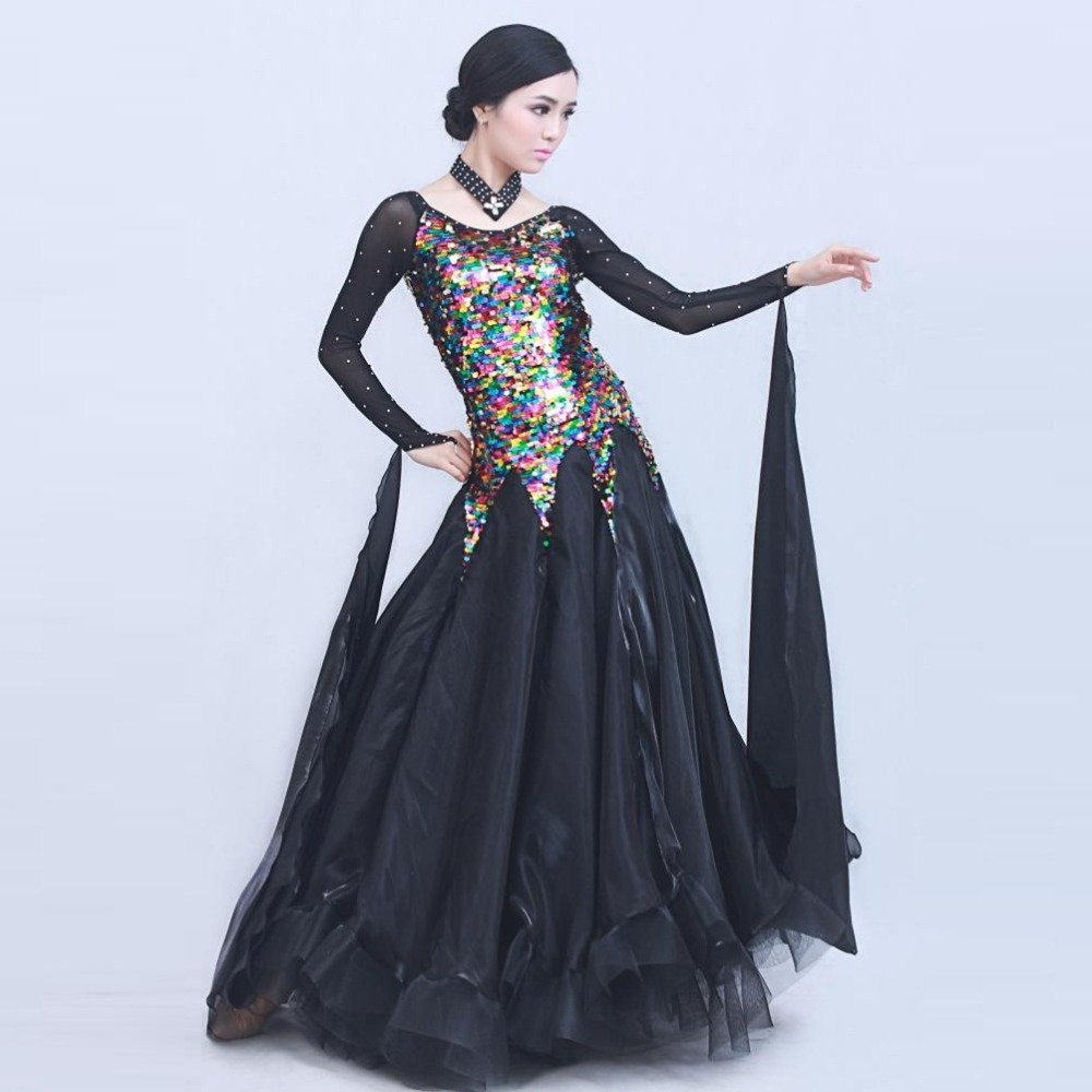 Picture of 3 Colors Pyrographic Deluxe High-End Standard Ballroom Dance Costume Dress For Competition  Sequins Waltz\/Tango\/Foxtrot Costumes
