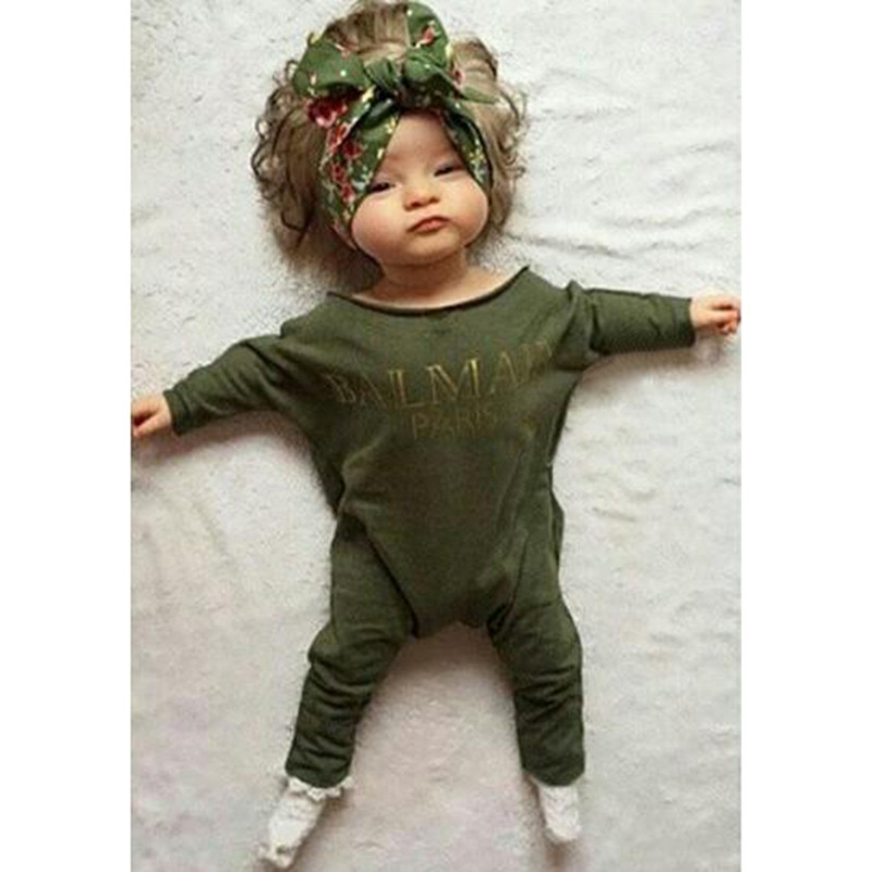 8731c8cbe649 Cute Baby Jumpsuits Spring Autumn Long Sleeves Army Green Baby Boys ...