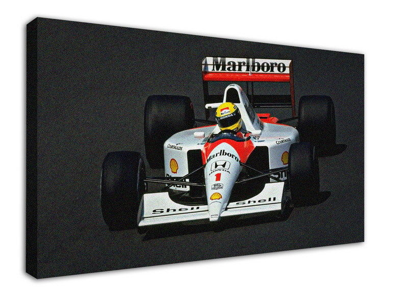WK-F401 (7) Ayrton Senna Canvas Stretched Wood Framed 18x12inch Poster
