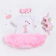 Мой первый день рождения новый год; Одежда для девочек комплекты новорожденный инфантил Bebes повязка на голову + платья + обувь 3 шт. летняя одежда комплект наряды