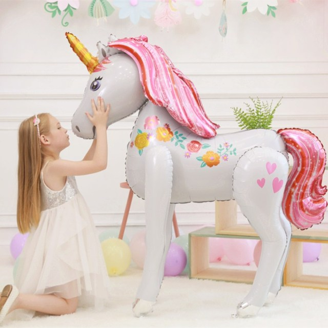 1 pc 46inch Large Magical Unicorn Airwalker Foil Mylar Balloon 3D Air Helium Balloon Birthday Unicorn Party Decor kids toy