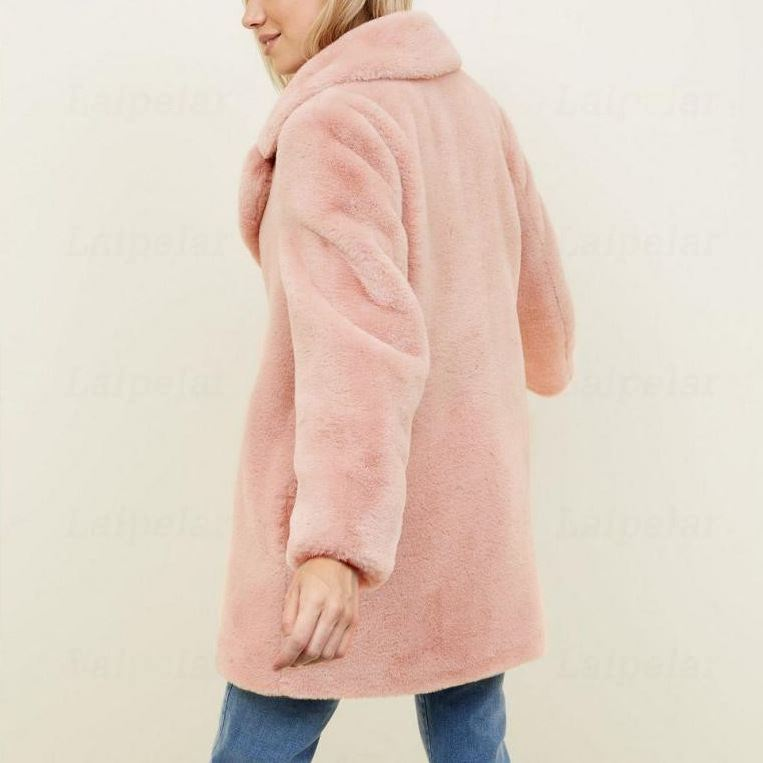 Laipelar Winter Women Luxury Faux Fur Coat Thick Warm Fake Rabbit Fur Jacket Plus Size Ladies Long Coat Fausse Fourrure Femme in Faux Fur from Women 39 s Clothing