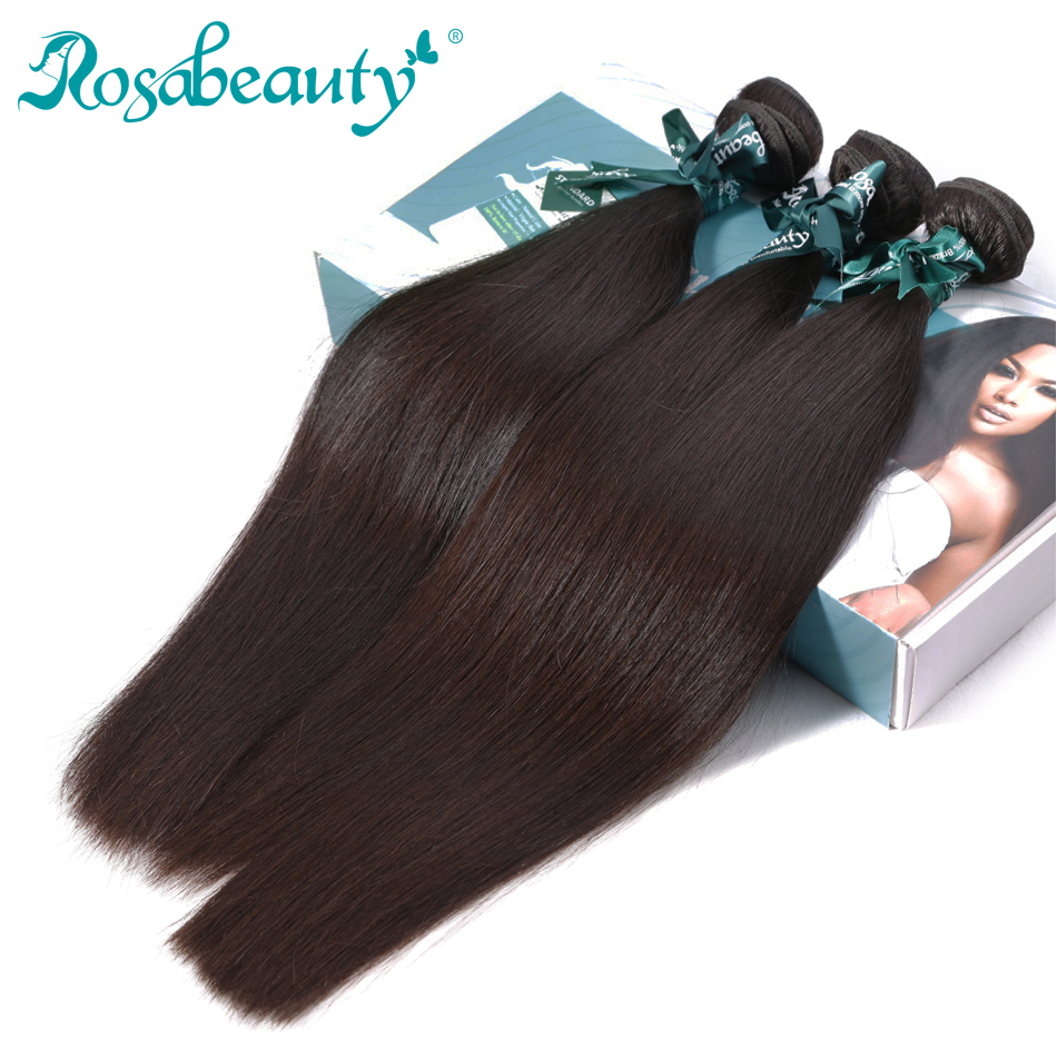 Rosabeauty Hair-Products Virgin-Hair Straight 100%Human-Hair-Bundles 3-Bundles/Lots Malaysian
