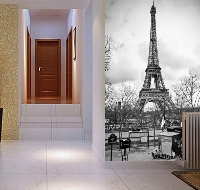 Buy free shipping eiffel tower mural for Eiffel tower wall mural black and white