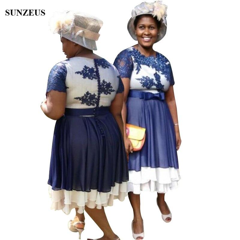 Robe mère de mariée bleue et ivoire a-ligne manches courtes longueur de thé robes de fête de mariage jupe en mousseline de soie à plusieurs niveaux robes de dame