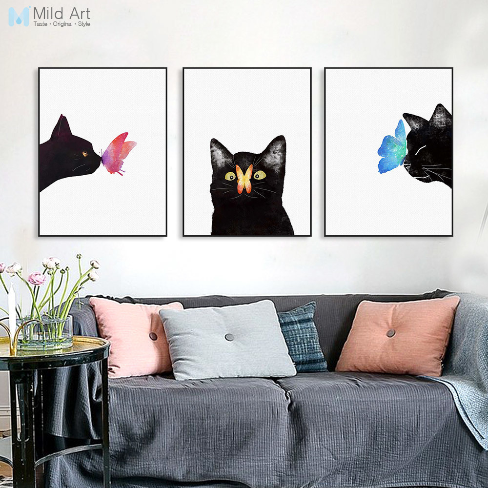 Akvarell Triptych Modern Animal Cat Butterfly Canvas A4 Konsttryck Poster Nordic Wall Picture Barnrum Decor Painting No Frame