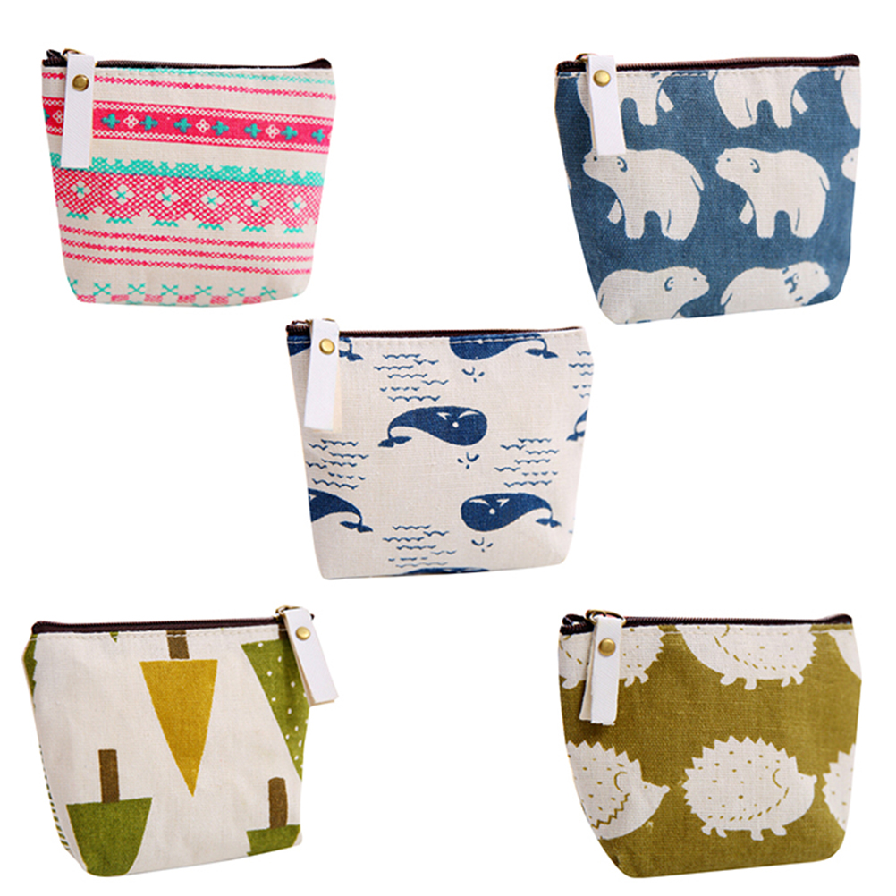 1PC Vintage Small Fish Bear Fish Hedgehog Tree Prints Coin Purse Wallet Holder Zipper Canvas Animal Printed Mini Coin Pouch