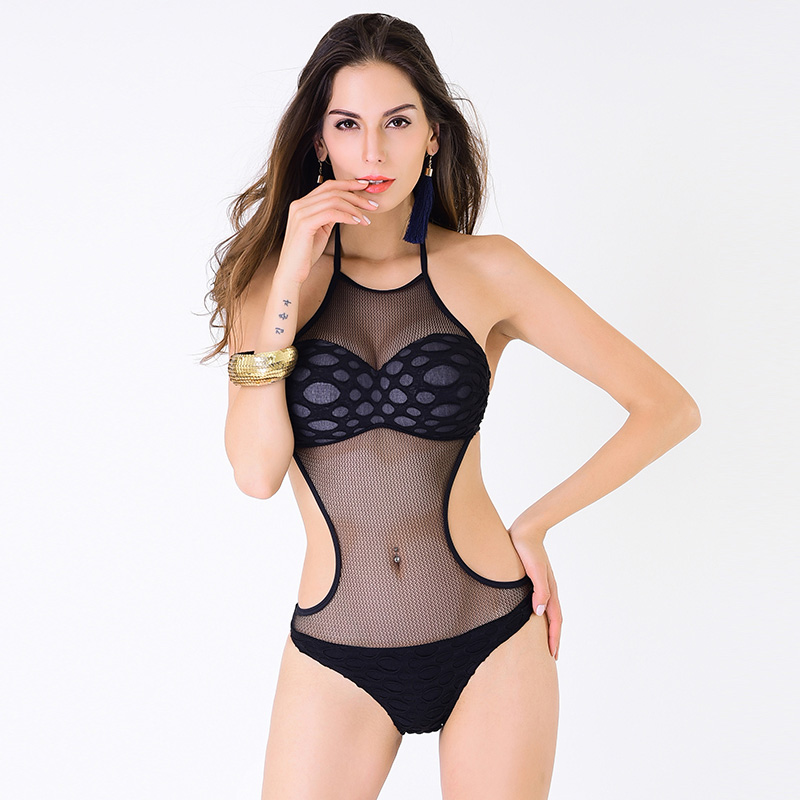 Sexy Hollow Women Swimwear Mesh See Through Out One Piece Halter Bandage Swimsuit Black Beach Wear Patchwork Bathing Suit new royal blue cross bust halter one piece swimsuit women monokini sexy v neck bandage swimwear hollow out backless beach wear