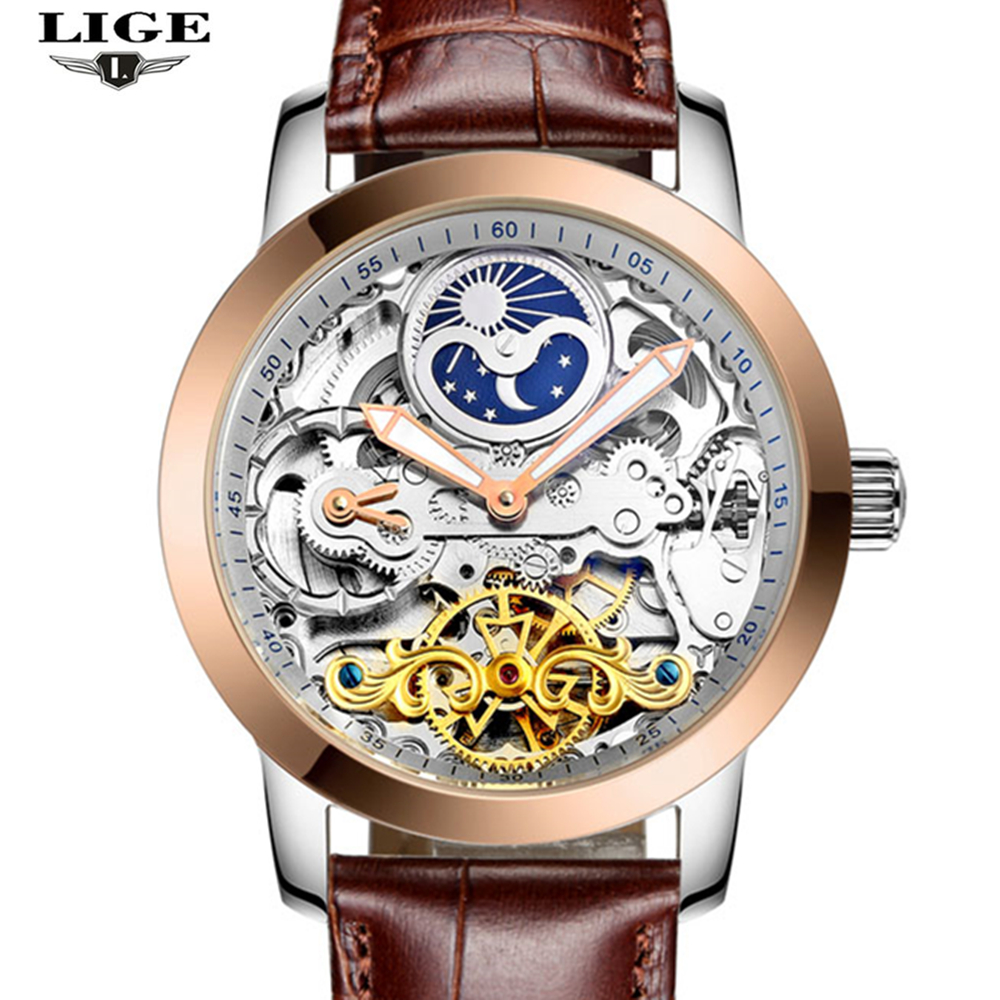 LIGE Brand Men's watches Moon phase Tourbillon Hollow Automatic Watch Men Waterproof Casual Business Leather Wrist watches brand classical fashion business casual watch men s automatic self wind wrist watches tourbillon moon phase hollow out calendar