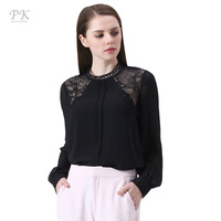 PK Black Lace Top Women Blouses 2017 Boyfriend Long Sleeve Lace Up Spring Summer Clothing Blusas