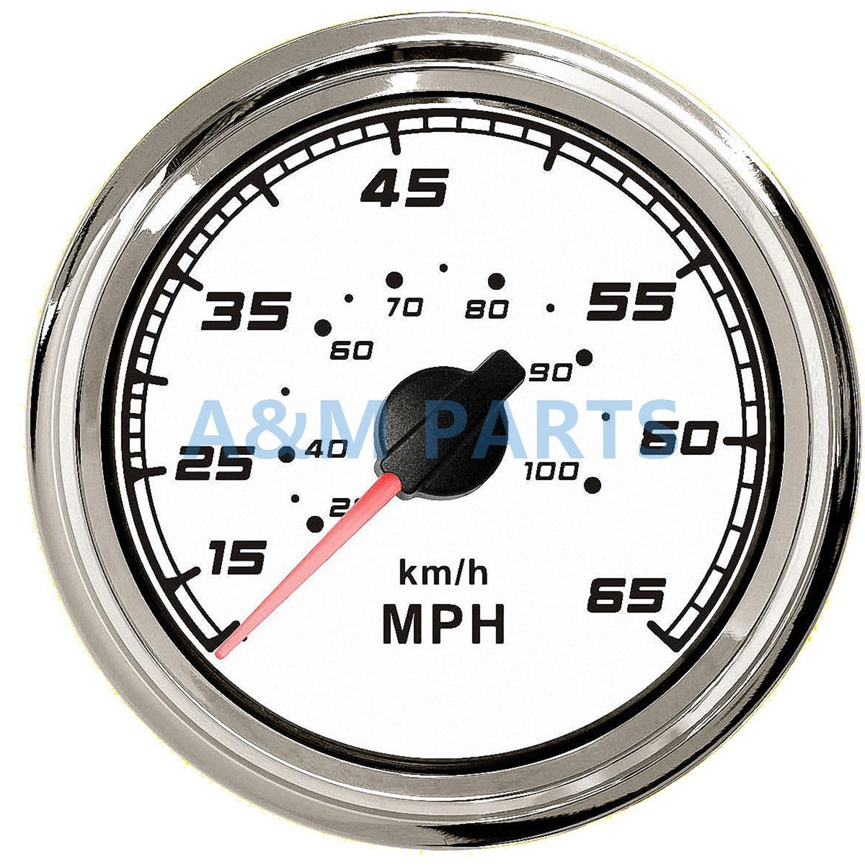 Boat Marine Speedometer Speed Gauge Steel Bezel 12V 24V 0 65MPH 100 KMH 85mm