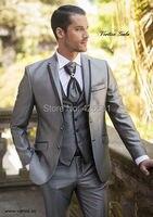 جديد وصول الرجال يرتدى ltalian رمادي الدعاوى الزفاف للرجال بلغت ذروتها التلبيب الرجال زفاف العريس الدعاوى رفقاء 3 أجزاء الدعاوى