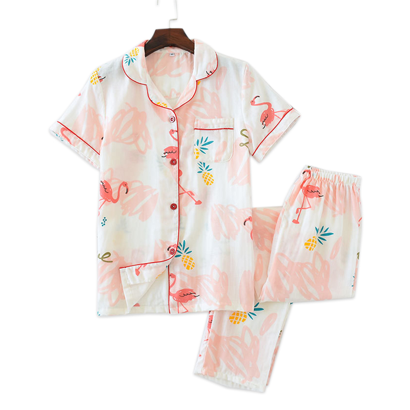 Summer flamingo 100% gauze cotton Fresh sleepwear women short sleeve trousers pyjamas casual Korea   pajamas     sets   women New Sale