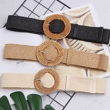 New Vintage Knitted Wax Rope Wooden Bead Waist Women Smooth Buckle Belt Woman Woven Female Hand-Beaded Braided BZ79