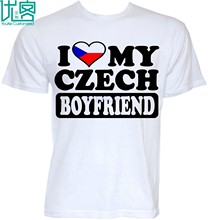 MENS FUNNY COOL NOVELTY CZECH BOYFRIEND CZECH REPUBLIC FLAG JOKE T-SHIRTS GIFTS Print T Shirt Men Summer Style Fashion Top Tee(China)