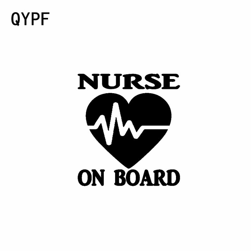QYPF 14CM*15.2CM NURSE ON BOARD Vinyl Car And Motorcycle Personality Stickers Decal Black Sliver C14-0242