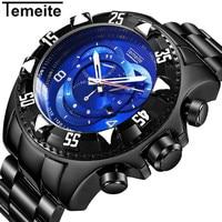 Temeite Sport Watch Men Top Brand Luxury Quartz Wrist Watches For Men Big Dial Stainless Steel
