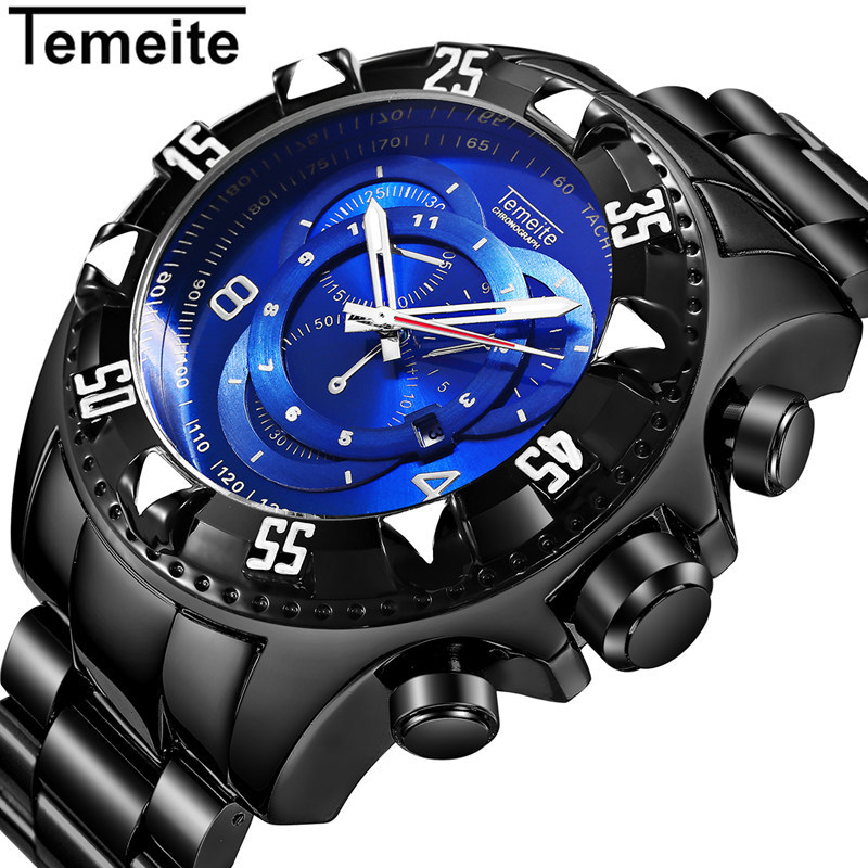 Temeite Sport Watch Men Top Brand Luxury Quartz Wrist Watches For Men Big Dial Stainless Steel Male Clock Relogio Masculino ot01 watches men luxury top brand new fashion men s big dial designer quartz watch male wristwatch relogio masculino relojes