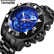 Temeite Sport Watch Men Top Brand Luxury Quartz Wrist Watches For Men Big Dial Stainless Steel Male Clock Relogio Masculino