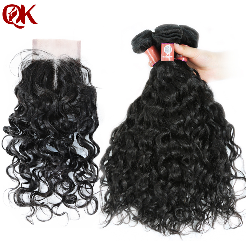 QueenKing Hair Brazilian Water Wave Human Hair Weaves 4 bundles with Closure Remy Hair Extension Middle part 3.5x4 Lace Closure