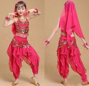 Image 5 - Cô gái Múa Bụng Trang Phục Bộ Trẻ Em Ấn Độ Nhảy Đầm Trẻ Em Bollywood Dance Trang Phục cho Bé Gái Hiệu Suất Nhảy Mặc 6 Màu