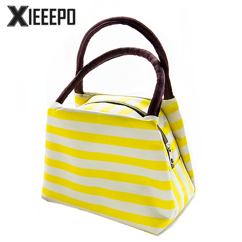 Fashion Stripes Thermal Lunch Bags Women Portable Insulated Thermo Cooler Bags Food Picnic Kids Lunch Insulation