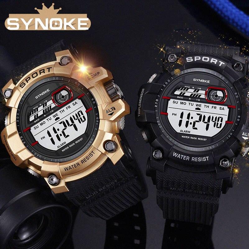 a4df33f6045 Esportivo de luxo Homens Relógio Analógico Digital Militar Do Exército  SYNOKE Eletrônico LED Relógio de Pulso