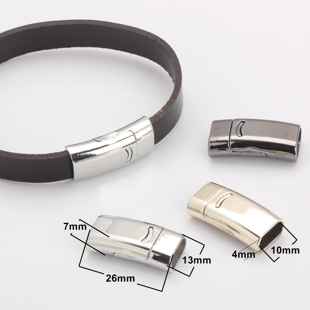 OlingArt 26 13mm 2pcs lot Magnetic Clasp Rhodium rose gold KC gold DIY Jewelry making 10 4mm leather cord Watch bracelet chain in Jewelry Findings Components from Jewelry Accessories