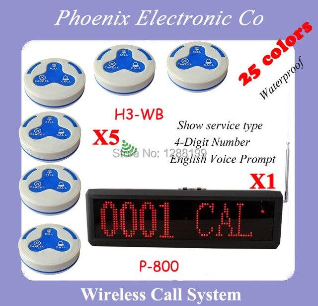 Sistema Localizador de Llamadas para Restaurantes Tabla Del Sistema de Llamada 5 unids de H3 campanas y 1 unids de P-800 Pantalla mensaje de Voz Inglés