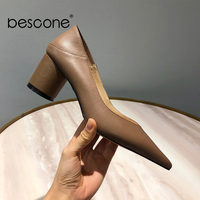 BESCONE Spring New Dress Women Pumps Quality Cow Leather Sexy Pointed Toe 6cm High Heel Shoes Fashion Shallow Ladies Pumps BO109