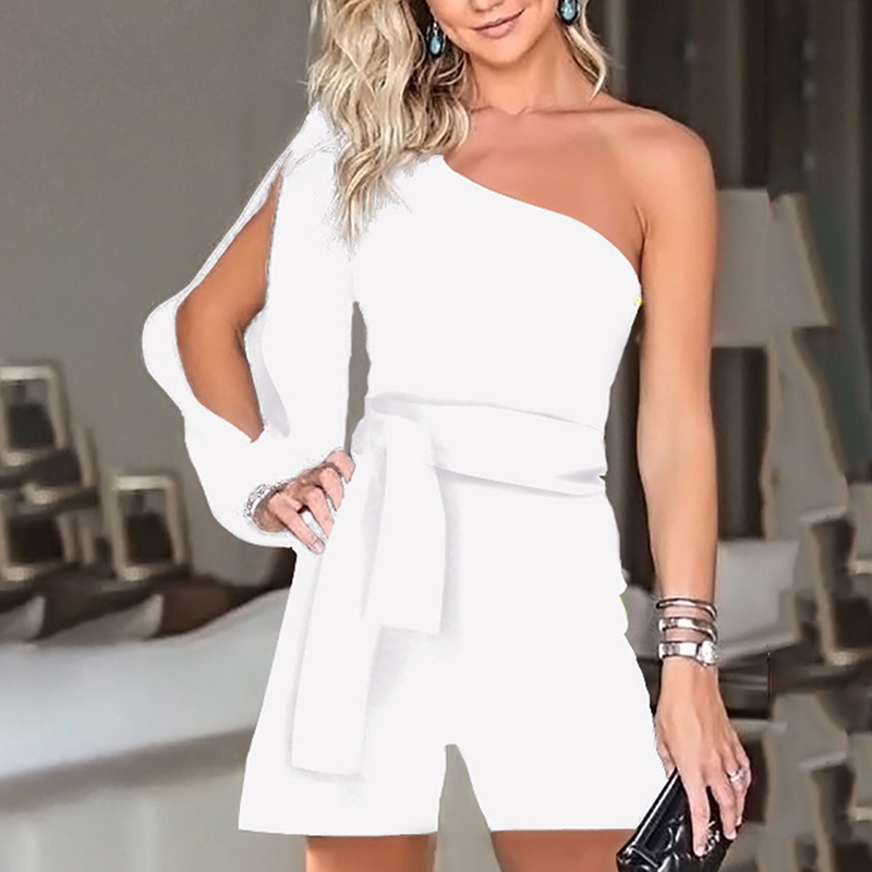 Summer Sexy Playsuit Women Fashion One Long Shoulder Lace Up Asymmetric Casual Jumpsuits Tied Waist Short Pant Flared Rompers