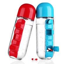 600 ML Mi Botella de Agua Deportes Combinar Todos Los Días Caja de La Píldora Organizador de Beber Botellas De Agua Vaso de Plástico A Prueba de Fugas marca