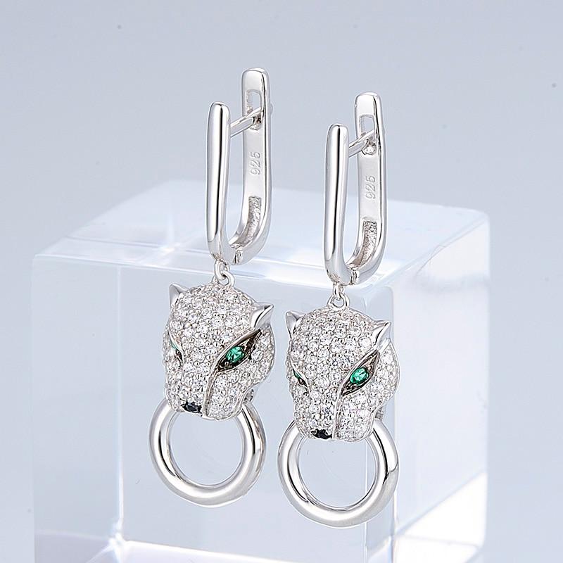 Image 2 - SANTUZZA Silver Earrings For Women Pure 925 Sterling Silver Dangle Panther Earrings Long Cubic Zirconia brincos Fashion Jewelry-in Drop Earrings from Jewelry & Accessories