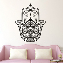 East Patterns Home Decor Hamsa Fatima Hands Vinyl Wall Stickers Removable Lotus Style Wallpaper Yoga Studio Decal AZ109