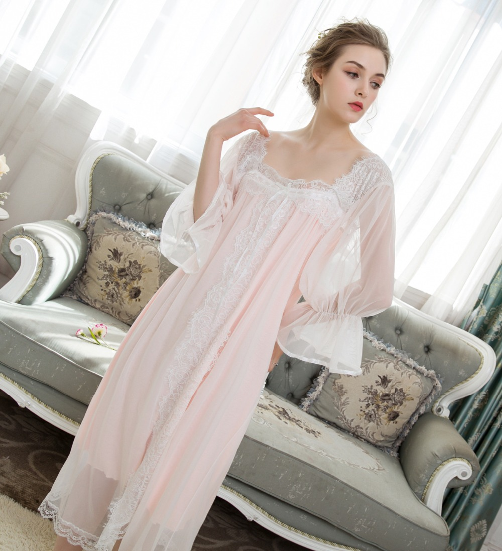 Horn Sleeve   Nightgowns     Sleepshirts   Summer Women Long Nightdress Soft Lace Sleepwear 3 Colors Indoor Clothing Nightshirt 0125#