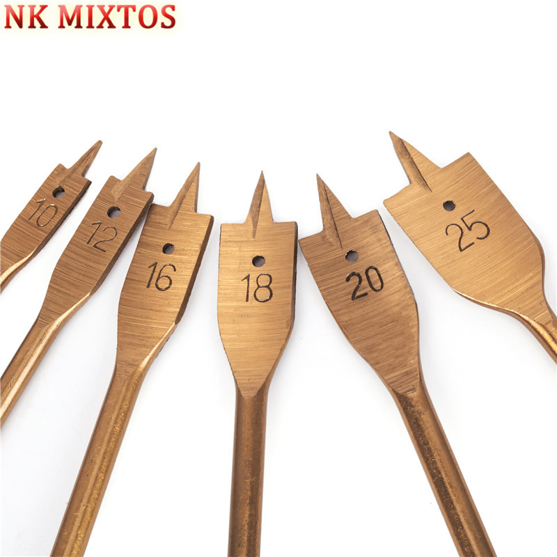6Pcs/Set HSS Hex Shank Spade Bits Flat Wood Boring Drill Bit Set Power Tools Hole Saw 10 12 16 18 20 25mm new 50mm concrete cement wall hole saw set with drill bit 200mm rod wrench for power tool
