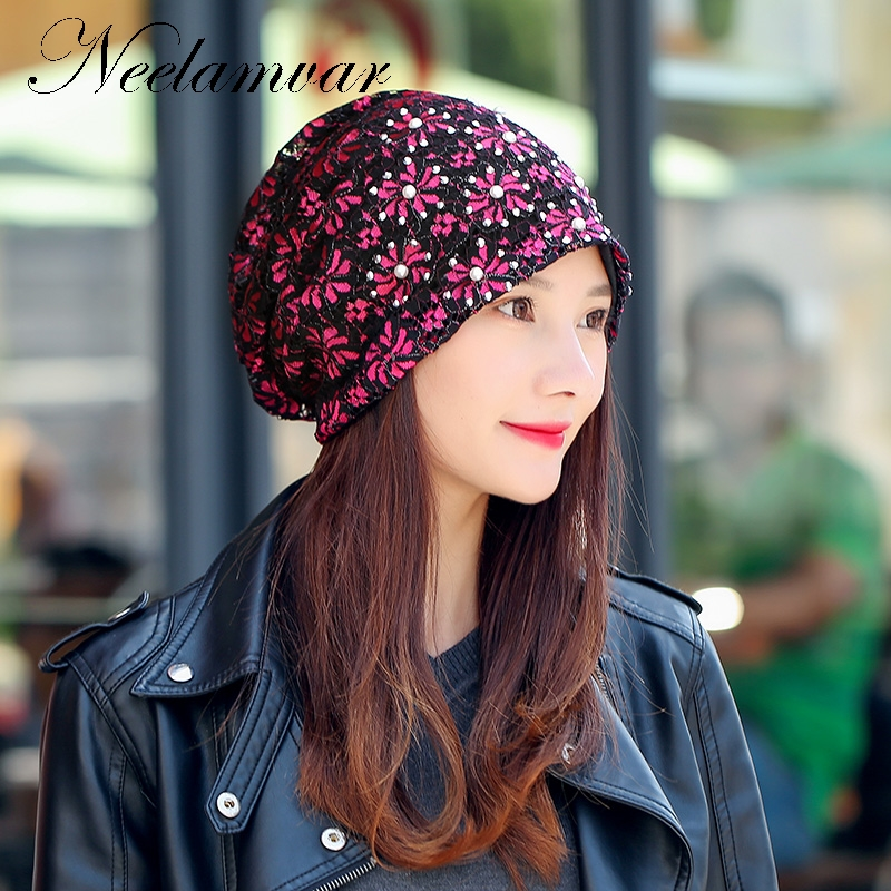 2017 Female Beanie Bonnet Autumn And Winter Caps Hip-hop Cap Flower Rhinestone Hats For Women Beanies Balaclava Womens Skullies female autumn and winter hats worn bonnet thick warm cap knitted caps women beanie cap