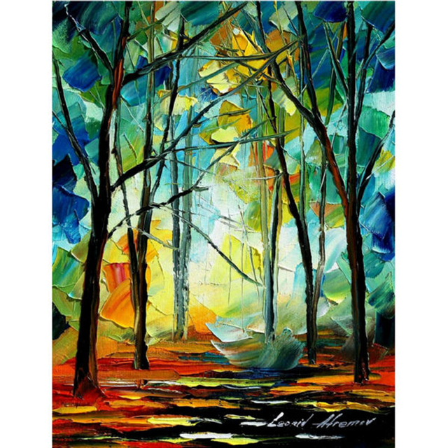 Modern Style Abstract Oil Painting Canvas Landscape Tree Oil ...