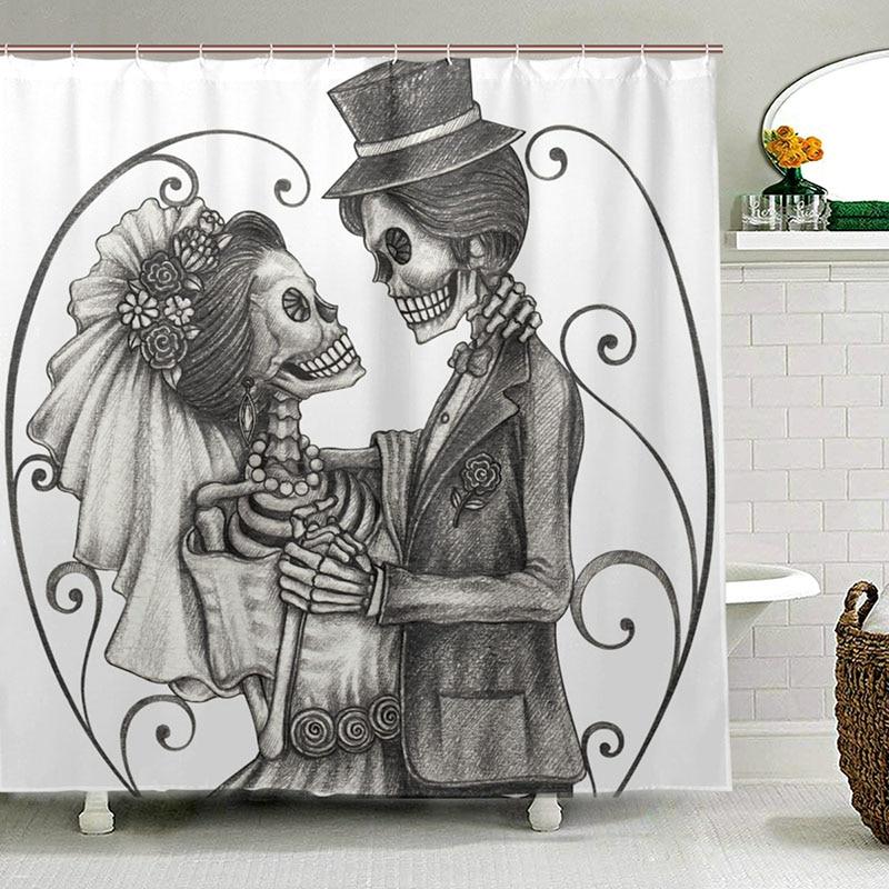 Skeleton Skull on Old Paper Waterproof Fabric Shower Curtain Bathroom Mat 71inch
